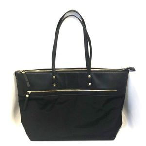Handbags - Black faux soft leather black and gold laptop bag
